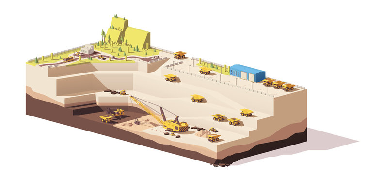 Vector low poly open pit coal mine