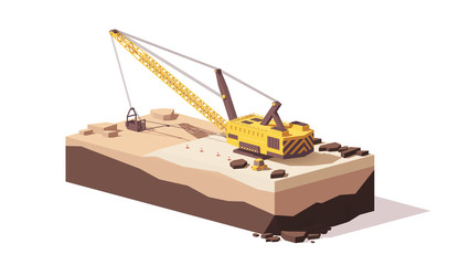 Vector low poly dragline excavator