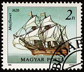Sailing ship Mayflower on postage stamp
