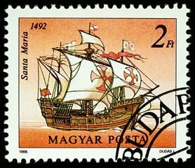 Santa Maria - ship of Columbus on postage stamp