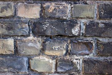 A black and grey old brick wall bacground.