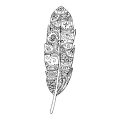 Hand drawn feather. Zentangle style.