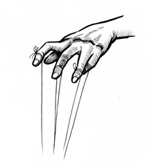 Ink illustration of a puppeteer hands with strings attached to the fingers