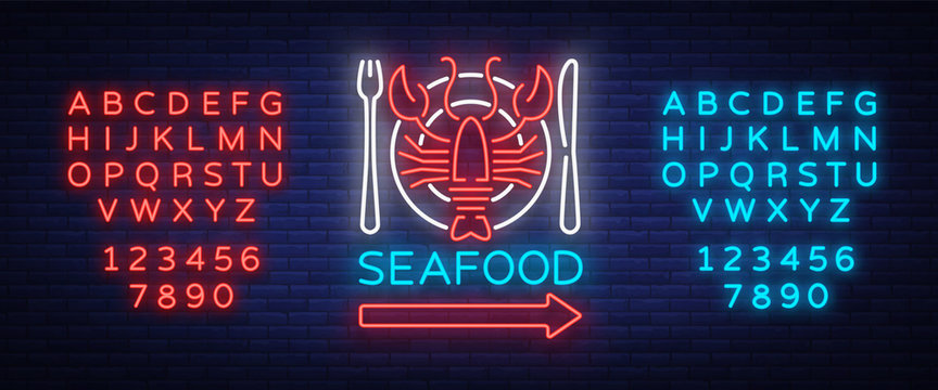 Seafood neon logo icon vector illustration. Lobster emblem, neon advertisement, night sign for restaurant, cafe, bar with seafood. Glowing banner, a template for your projects. Editing text neon sign
