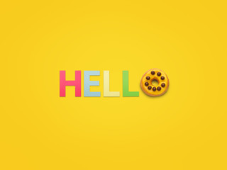 Greeting made with letters on yellow