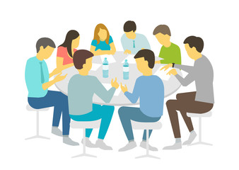 Round table talks brainstorm. Team business people meeting conference eight people. White background stock illustration vector Refresher courses
