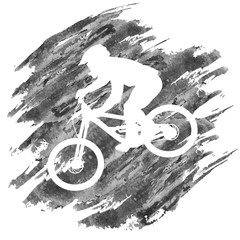 Printed kitchen splashbacks Silhouette of a cyclist going down on a mountain bike on a slope