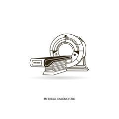 Medical diagnostic. MRI scanner machine technology and diagnostics , medical Health care Vector illustration.