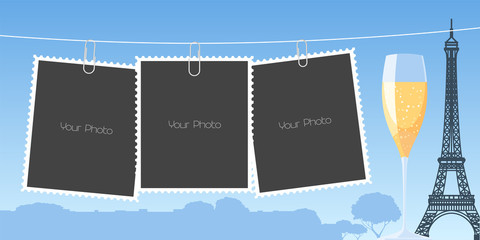Collage of photo frames, scrapbook vector illustration, background