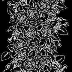 beautiful black and white seamless pattern roses with little flowers. Hand-drawn contour lines and strokes. Sketch engraving style monochrome flowers and leaves. Intricate romantic background