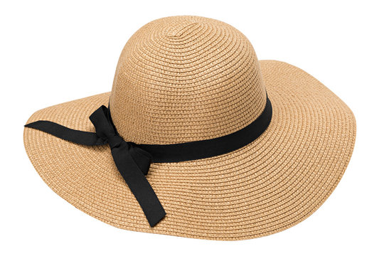 Womens summer yellow straw hat with the ribbon, isolated on white background