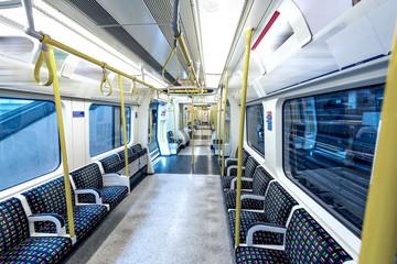 Inside underground train, London