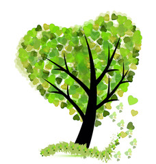 Tree with leafs shaped as a heart icon vector