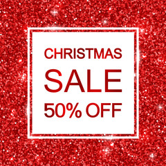 Christmas sale banner on red glitter. Vector