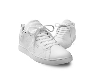 Pair of White sneaker isolated on white background with clipping path