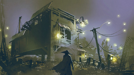 night scene of a man looking at the old house with junk all around, digital art style, illustration painting