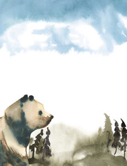 Watercolor illustration isolated on white background. Blue forest in fog and bear.