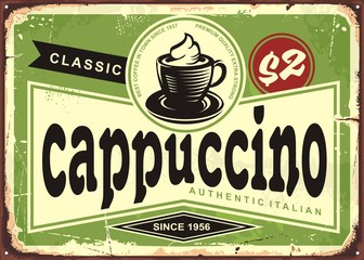 Cappuccino vintage cafe sign with coffee cup on green background