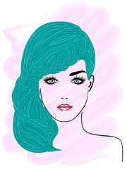 Model with plaited turquoise hair