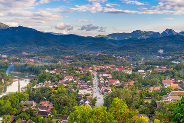 Viewpoint and beautiful landscape in luang prabang, Laos.