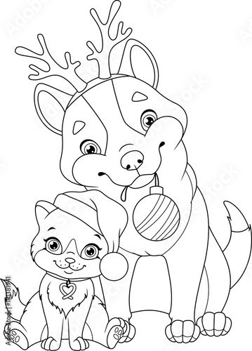 Quot Christmas Dog With Cat Coloring Page Quot Stock Image And