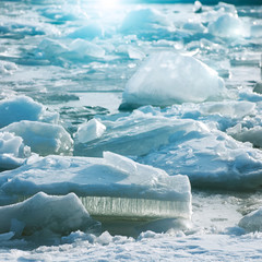 Ice on the water in sunny day on The Gulf of Finland