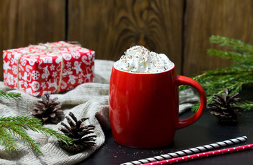 Christmas drink. Cup of hot chocolate with marshmallow.