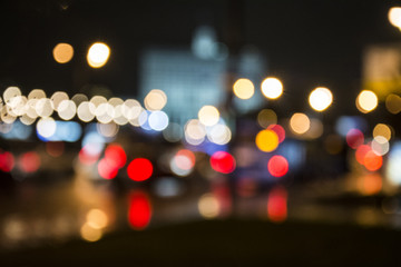 Night city. Bokeh. Abstract background.