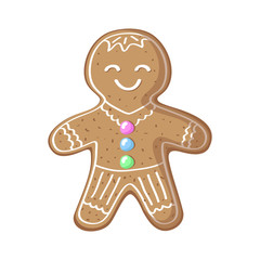 Gingerbread man vector illustration on white background. Cute smiling gingerbread man cartoon drawing.