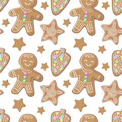 Christmas gingerbread seamless pattern on white background. New Year or Christmas gift wrapping paper.