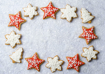 Christmas Cookies on Bright Background with Free Space