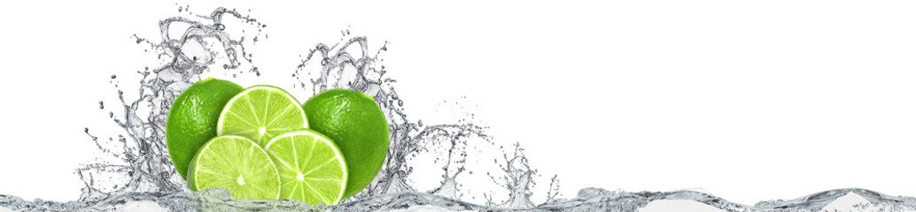 Lime and water splash on white background