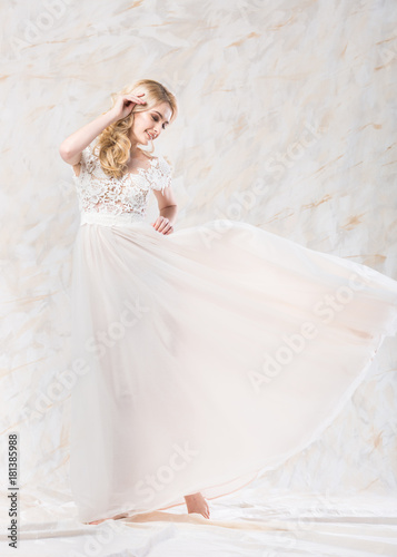 Fashionable Wedding Dress Beautiful Blonde Bride Hairstyle And Makeup Concept