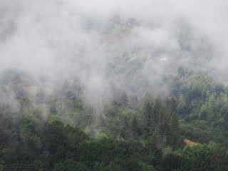 Fog at the village in the carpatian mountains