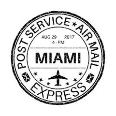 MIAMI black round postmark for envelope