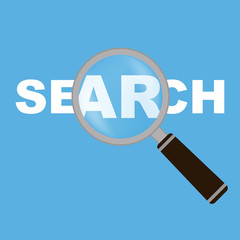 Magnifying glass with word Search. Vector Illustration