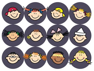 Head of kids, isolated portrait, sticker, vector icon