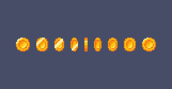Pixel gold coin animation.