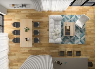 Interior modern design room top view 3D illustration