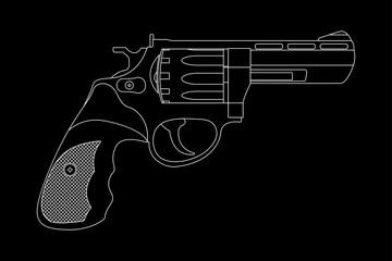 Revolver. White outline image on black background