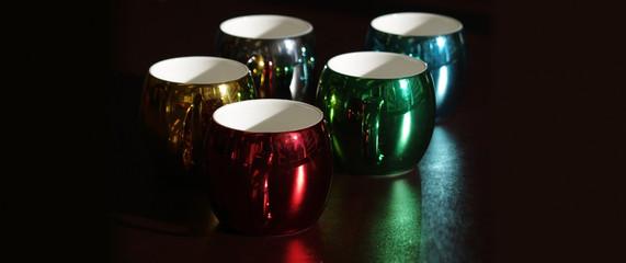 Colorful and seasonal coffee mugs