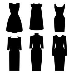 Little Black Dress Designs. Vector set