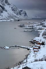 SW.-wards view over Maervollspollen of Steinsfjorden to Himmeltindan-Nordtinden-Nonshammaren mounts. Vestvagoya-Lofoten-Norway.0577