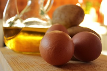 Spanish omelette recipe ingredients in the kitchen