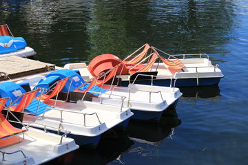 Colorful paddle boats with beach chairs in Lake Constance, Bregenz, Vorarlberg in Austria.