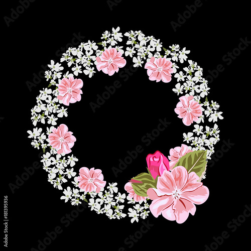vintage floral wreath with cute pink and white flowers template for