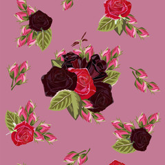 Seamless pattern with beautiful red roses. Vintage floral background for textile, cover, wallpaper, gift packaging, printing.Romantic design for calico, silk, home textiles.