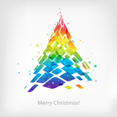 Abstract multicolor Christmas tree isolated on white background, Christmas card