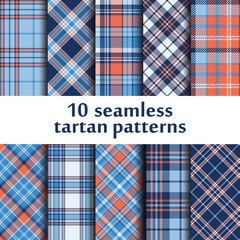 Set of 10 seamless tartan pattern