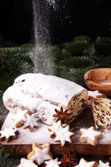Christmas stollen and cookies. Traditional German festive baking
